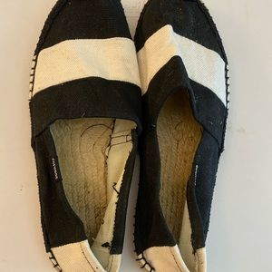 Black and white striped espadrille flats